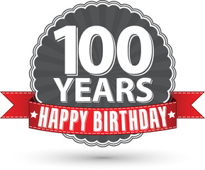 Happy birthday 100 years retro label with red ribbon, vector ill