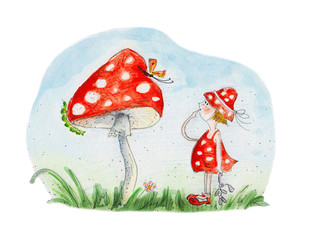 red girl and mushroom. Watercolor hand drawing