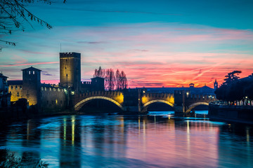 Castelvecchio Bridge at sunset, Verona