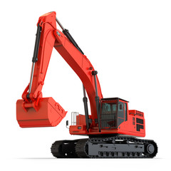 Red Hydraulic Excavator