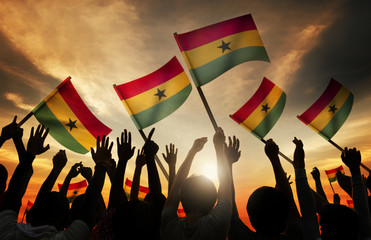 Silhouettes People Holding Flag Ghana Concept