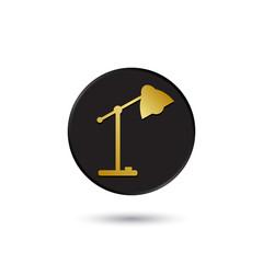 Simple gold on black desk lamp icon, logo