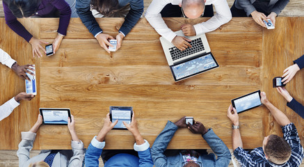 Wall Mural - Group of Business People Using Digital Devices Concept