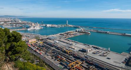 Main shipping port of Barcelona, Spain.