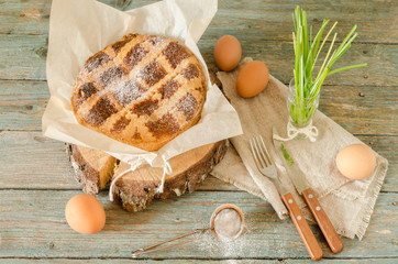 Neapolitan pie with wheat and ricotta, still life