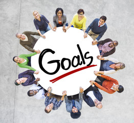 Group People Holding Hands Around Word Goal Concept