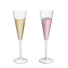 Champagne Trumpet Flutes Glasses set with liquid, clipping path