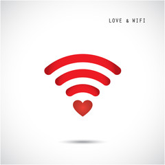 Heart shape and wifi sign. Happy valentine 's day background.