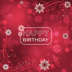 Happy birthday vector illustration with floral pattern