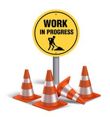 Work in progress Sign in White Background