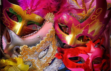 top view of colorful Venetian masquerade masks. retro filtered i