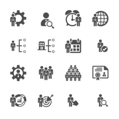 business and human resource management icon set, vector eps10