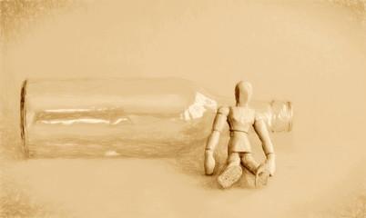 sitting near bottle vin  - illustration based on own photo image