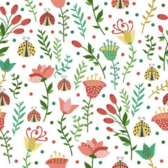 Floral seamless white pattern with ladybugs
