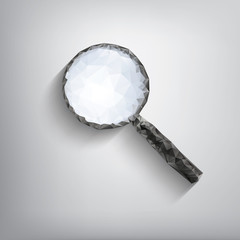 Magnifying glass symbol in modern low polygonal shapes on grey