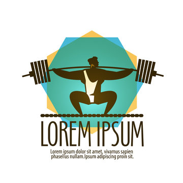 gym vector logo design template. Weight lifter or sport icon.