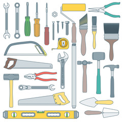 vector colored outline various house remodel instruments set.
