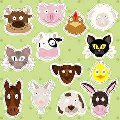 Cute Farm Animals - Vector Illustration Set