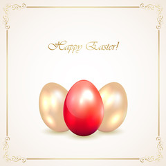Red and golden Easter eggs
