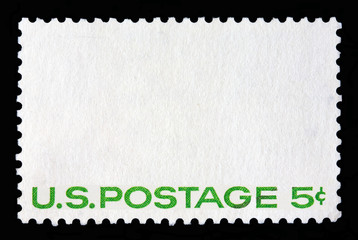 "White postal stamp with the writing ""US Postage 5c""."
