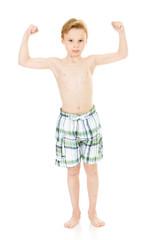 Swimmer: Tough Guy Kid in Swimsuit