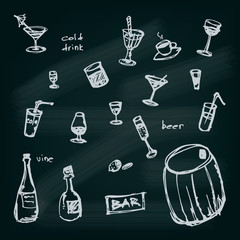 Hand drawn illustrated drinks set.
