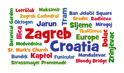 Zagreb, Croatia word cloud