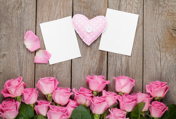Pink roses, handmaded toy heart and valentines day blank greetin