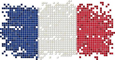 French grunge tile flag. Vector illustration