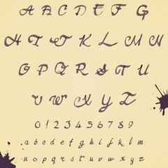 Watercolor handwritten alphabet. Numbers and symbols.
