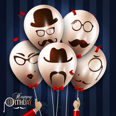 Vector birthday card. Balloons with silhouettes on hipster style