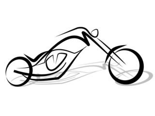 Fototapete - Custom Chopper Motorrad Tribal 3D Schatten