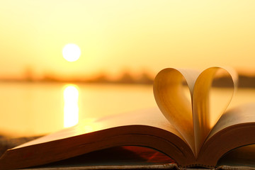 Heart from book pages with warm sunlight