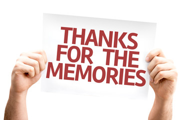 Thanks for the Memories card isolated on white background