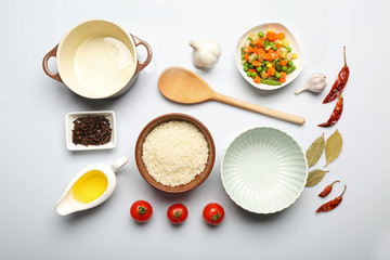 Food ingredients and kitchen utensils for cooking isolated