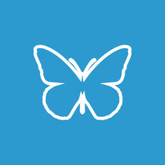 butterfly outline icon, isolated, white on the blue background.