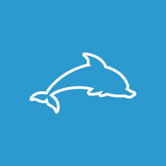 dolphin outline icon, isolated, white on the blue background.