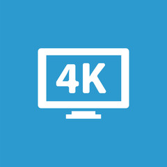 4k tv icon, isolated, white on the blue background.