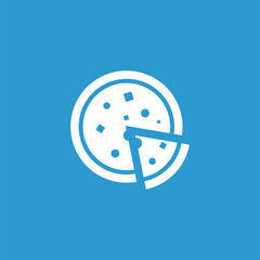 pizza icon, isolated, white on the blue background.