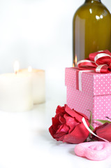 gift box with decoration things on white background. Valentines