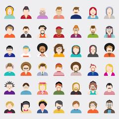 People Diversity Portrait Design Characters Vector Concept