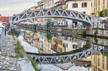 Fotomurales - Bridge across the Naviglio Grande canal