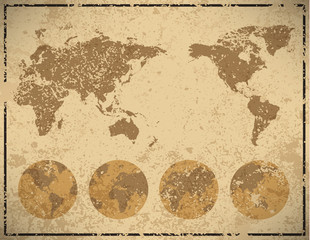 world map in vintage pattern paper, vector illustration