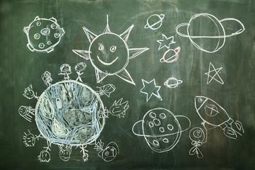 das universum gemalt von einem kind