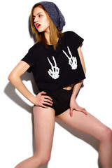 Fashion stylish girl model in modern cloth