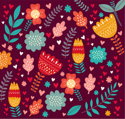 Fototapete - Vector holiday floral background