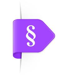 Paragraph - Violetter Sticker Pfeil mit Schatten