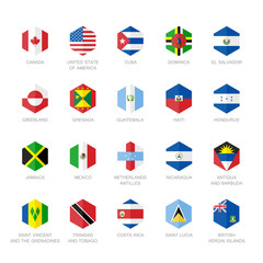 North America and Caribbean Flag Icons. Hexagon Flat Design.
