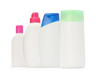 the group shot packaging bottle shampoo and soap liquid isolated