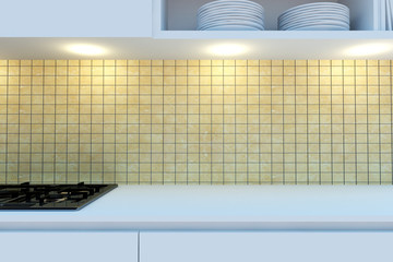 Element of the working area of modern kitchen